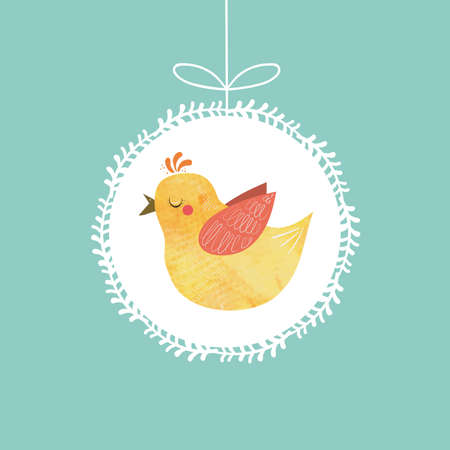chinese new year card: Illustration with Chinese New Year rooster on blue background