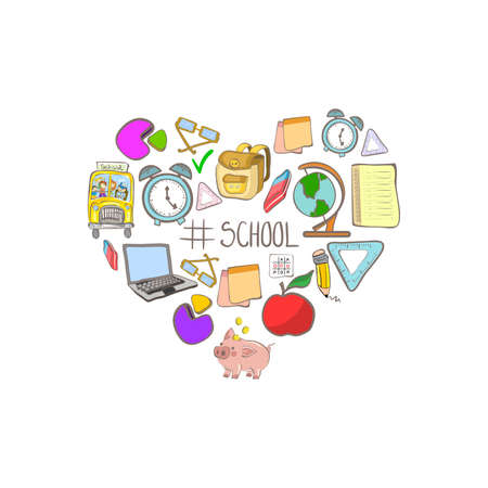 Illustration with heart shaped school supplies icons and hashtag school isolated on white background