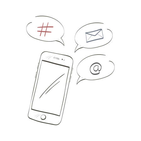 Illustration with doodle smartphone and network icons isolated on white background