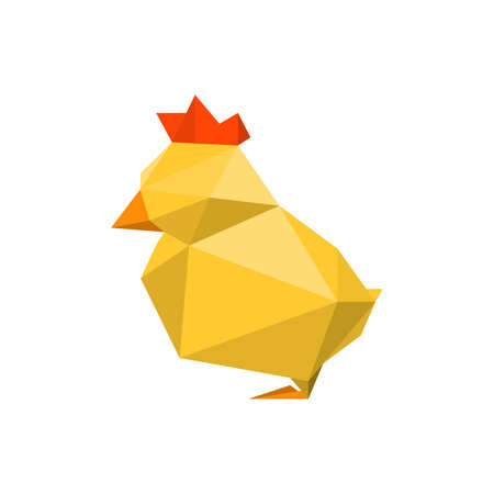 Illustration of abstract origami yellow chicken chinese new year 2017 on watercolor dripping background