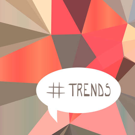 Illustration with hashtag symbol and trends text on origami background