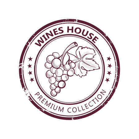Grunge stamp with fine wine collection isolated on white background Illustration