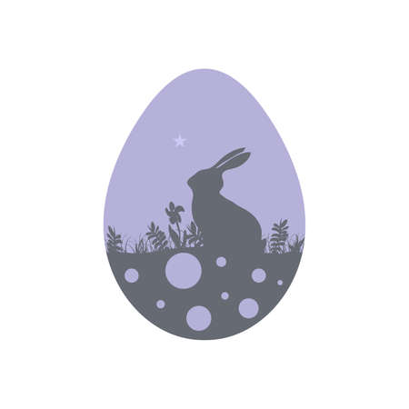 Modern flat design with rabbit silhouette on Easter egg on white background