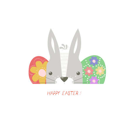 Modern flat design with Easter bunny and eggs isolated on white background Illustration