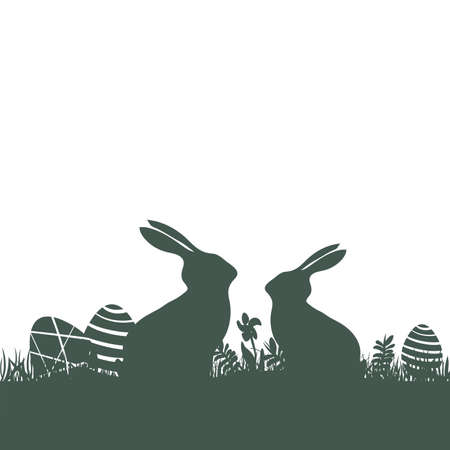 Illustration with modern flat design of two Easter rabbits with eggs on white background