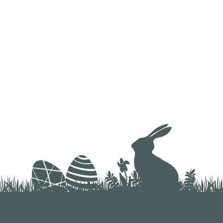 Modern flat design with Easter rabbit silhouette and eggs on white background Ilustrace