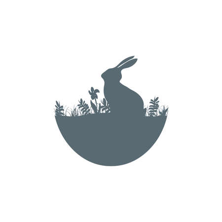Easter illustration with habbit silhouette icon isolated on white background Ilustrace