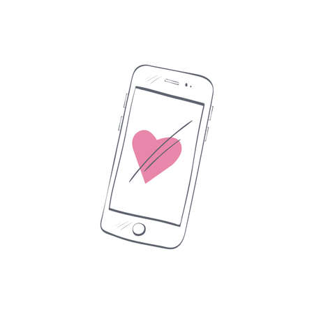 Hand drawn smartphone with simple doodle heart isolated on white background Illustration