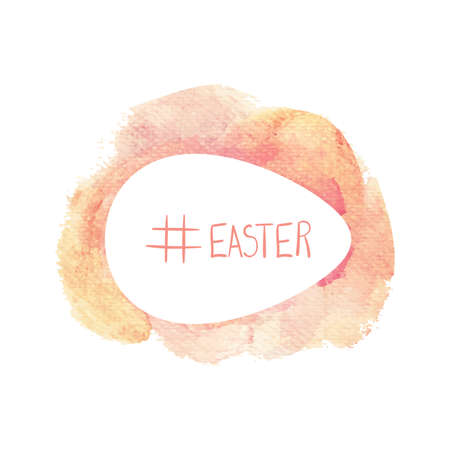 Watercolor design with hashtag easter isolated on white background