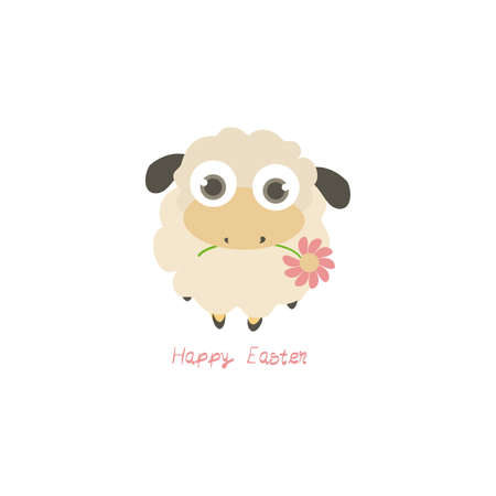 Illustration with cartoon sheep and Happy Easter text  isolated on white background