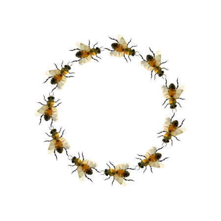 Modern origami illustration with a grup of bee in a circle isolated on white background