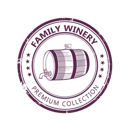 Grunge label stamp with family winery design barrel isolated on white background