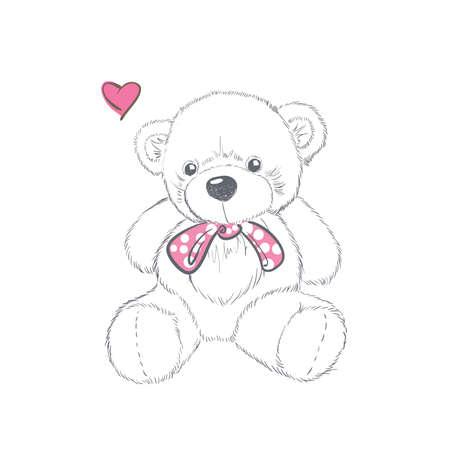 Doodle Illustration with doodle Valentine teddy bear