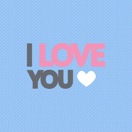 Modern flat illustration with bold I love you text on blue background Ilustrace