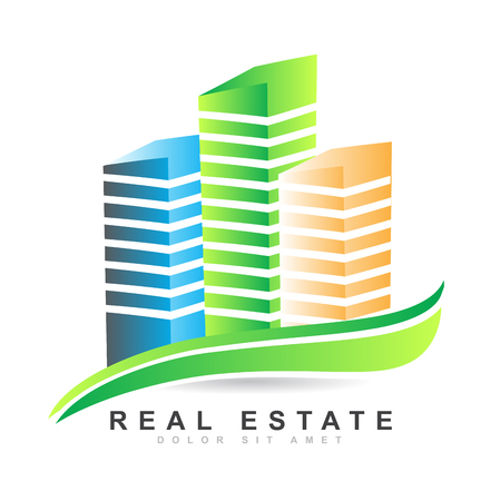 real residential: Vector template of a colored 3d real estate logo vector