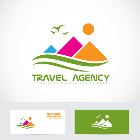 Vector company logo element template tourism travel agency mountain colors vacation holiday Illustration