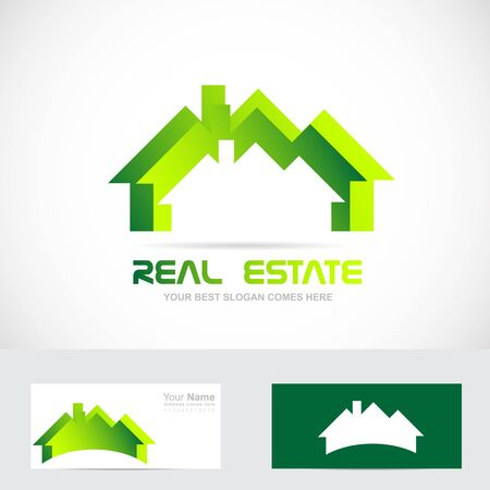 roof top: Vector company logo icon element template real estate roof green house residential