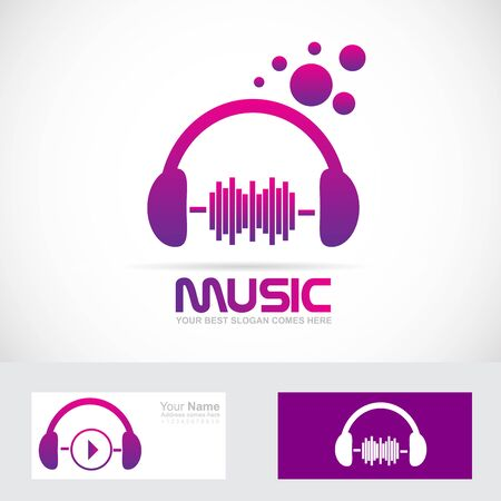 music production: Vector company logo icon element template headphones volume music production studio Illustration