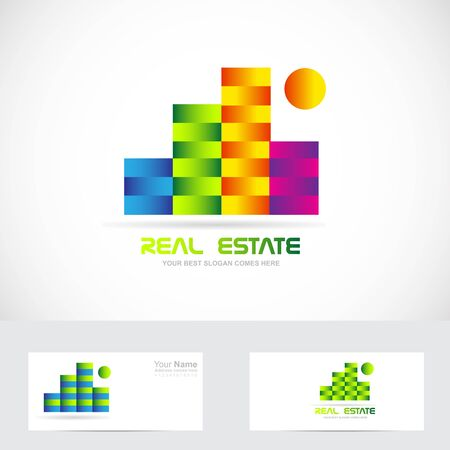 building estate: Vector company logo icon element template real estate colors buildings abstract Illustration
