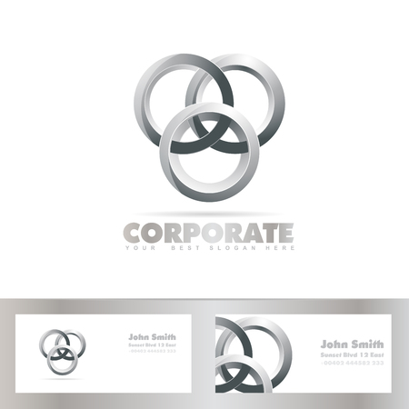 joined: Vector template of silver joined circle logo with business card