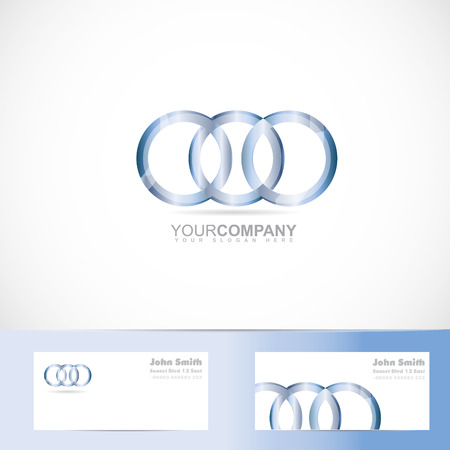joined: Vector logo template of metal circle rings joined Illustration