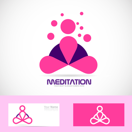 meditator: Vector company logo icon element template meditation meditator asana yoga zen pink Illustration
