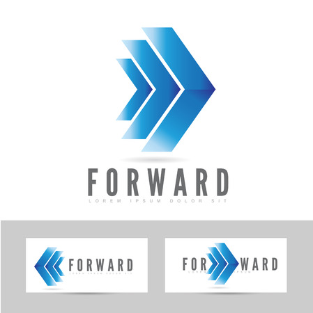 forward: Moving forward blue logo arrow concept design