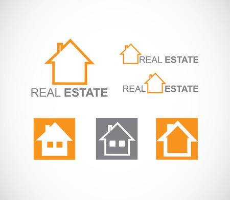 real estate house: Vector company logo element template real estate house icon set Illustration