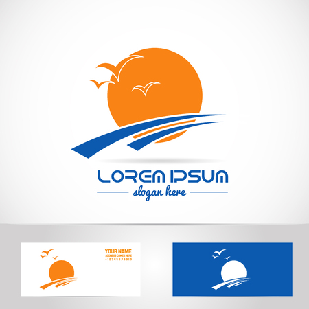 Vector company logo element template travel agency sun holiday relaxation tourism birds