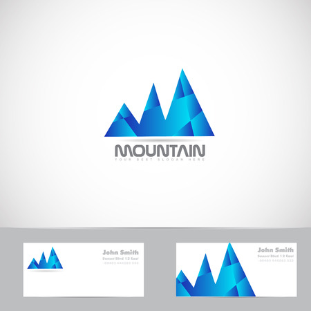 blue card: Vector logo template of blue mountain shape 3d with business card