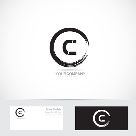 c design: Vector logo template of alphabet letter c grunge circle with business card