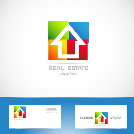 Vector company logo icon element template real esate colors colored house residential
