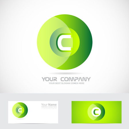 Vector company logo element template letter c green circle logo