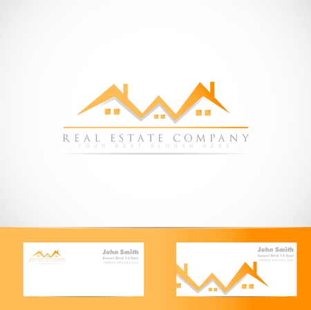 realty: Vector logo template of real estate orange house roof symbol with business card