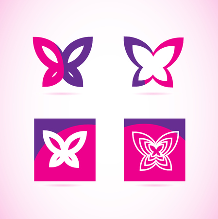 wellness: Vector company logo element template of pink purple butterfly icons set for spa, beauty, wellness, relaxation
