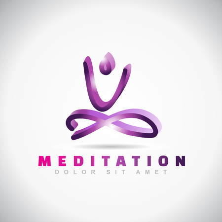 3d om: Vector logo template of an abstract yoga meditation pose icon
