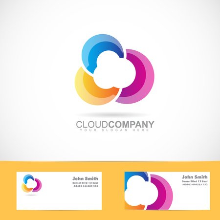 Vector logo template of colored cloud logo design for service, storage, computing, networking, it, hosting 일러스트