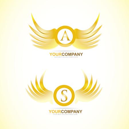 luxo: Molde do logotipo do vetor das asas carta 3d dourado