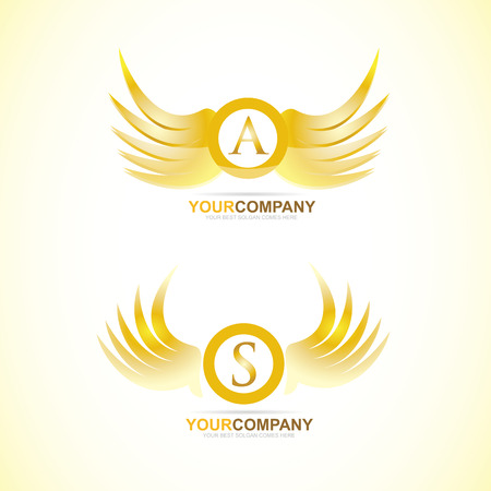 lux: Vector logo template of letter wings gold golden 3d Illustration