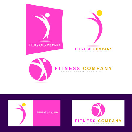Vector logo template of gym activities like fitness or aerobic 일러스트