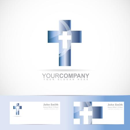 church icon: Vector logo template of a blue cross 3d metal design