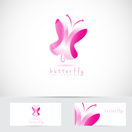 3d butterfly: Vector logo template of pink 3d butterfly logo