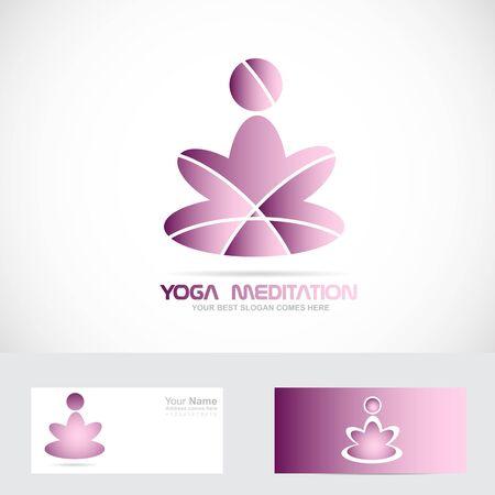 Vector company logo icon element template meditator yoga zen asana Illustration