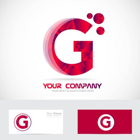 business it: Vector company logo icon element template alphabet letter g red 3d abstract games media it advertising corporate business