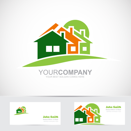 house logo: Vector logo template of real estate icon with three house shape