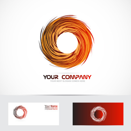 business graphics: Vector company logo element template circle rotation rotative logo red