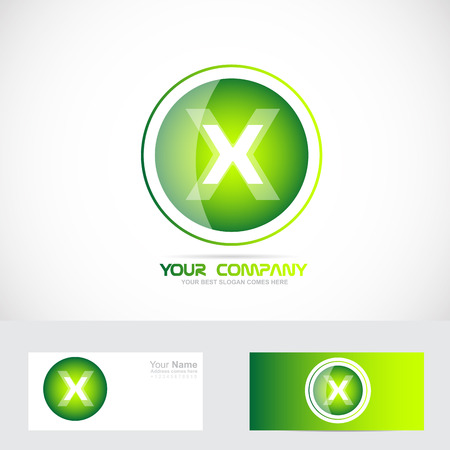 x games: Vector company logo icon element template x alphabet letter  green circle sphere games it media advertising Illustration