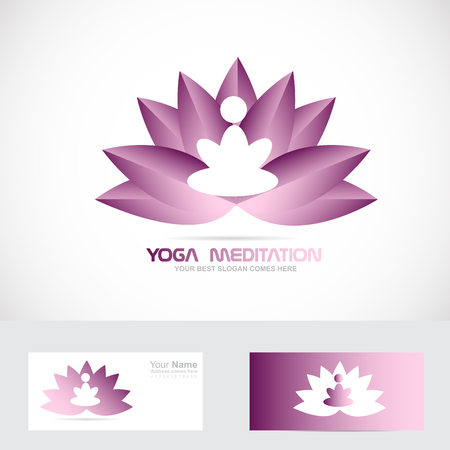 meditator: Vector company logo icon element template yoga zem meditation lotus flower Illustration