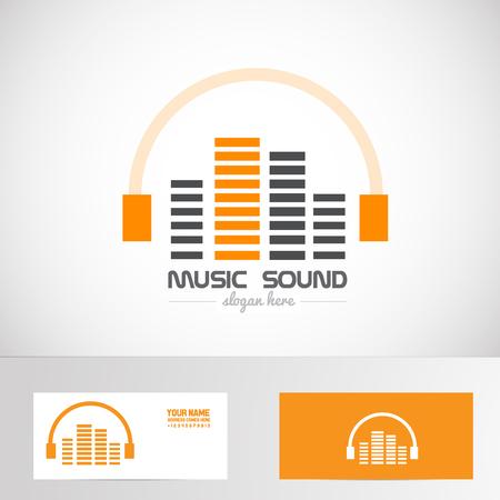 Vector empresa insignia de la plantilla elemento de audio de música de producción auriculares volumen logo sonido