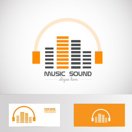 Vector company logo element template audio music volume headphones logo sound production